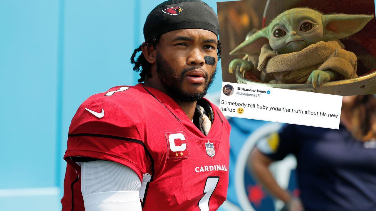 """Baby Yoda"": Chandler Jones sackt Kyler Murray verbal - Bildquelle: Getty Images/Twitter@chanjones55/Disney"