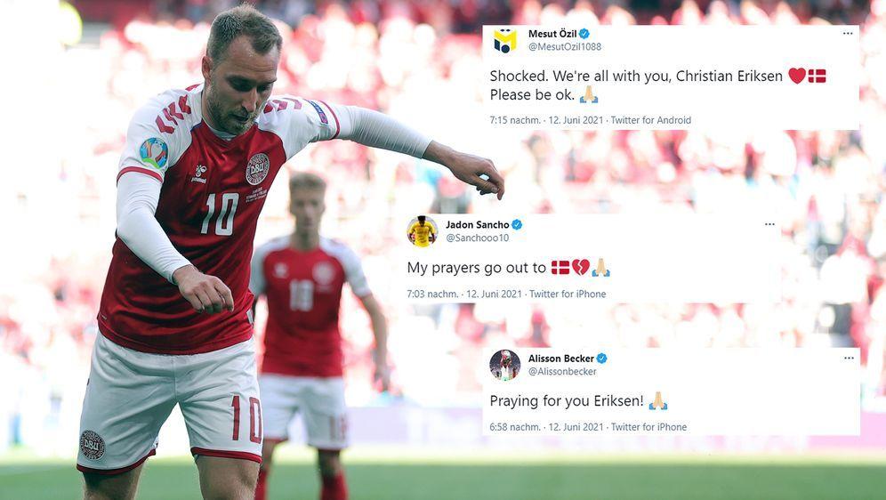 Mittelfeldstar Christian Eriksen kollabierte beim EM-Auftaktspiel Dänemarks ... - Bildquelle: Imago/twitter@Sanchooo10/twitter@MesutOzil1088/twitter@Alissonbecker