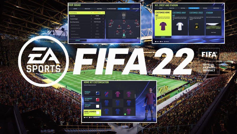 Im Manager-Karrieremodus von FIFA 22 können Zocker mit ihrem selbst gegründe... - Bildquelle: twitter@_elioM/twitter@FUTZONECENTRAL