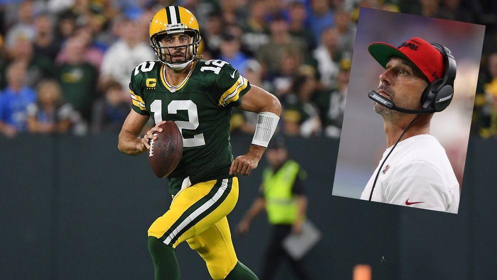 Kyle Shanahan hat sich bei der Packers nach Aaron Rodgers erkundigt. - Bildquelle: Getty