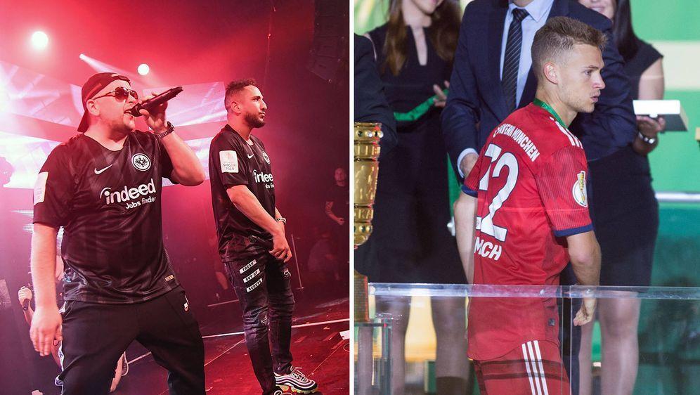 Joshua Kimmich (r.) wurde im Pokalfinale vom Rap-Duo Celo und Abdi (l.) belä... - Bildquelle: imago