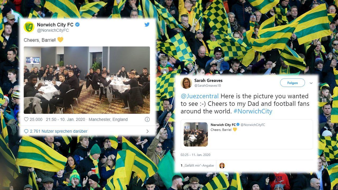 Prost, Barrie! Norwich-Profis lösen Fan-Erbe ein - Bildquelle: getty images/Twitter@NorwichCityFC/@SarahGreaves18