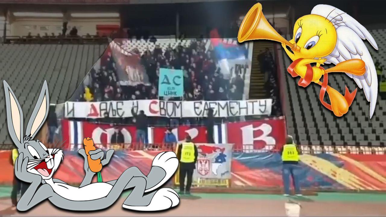 Roter Stern Belgrad: Fans trollen die Auswärts-Anhänger mit Looney Tunes - Bildquelle: twitter.com/cducksbury