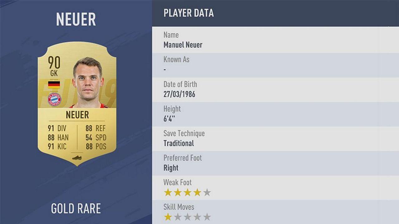 Manuel Neuer - Rating: 90 - Bildquelle: EA Sports