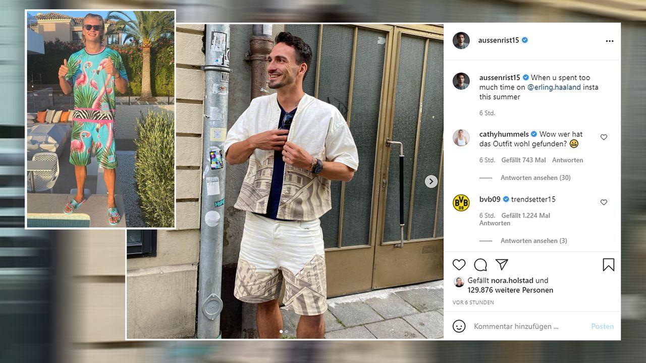 Mats Hummels veräppelt BVB-Mitspieler Erling Haaland - Bildquelle: aussenrist15@instagram/erling.haaland@instagram