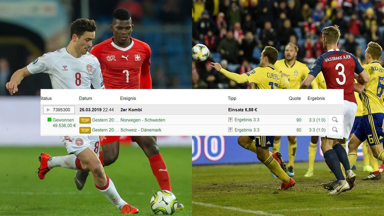 Zweimal 3:3 - Zocker gewinnt dank zweier Treffer in der Nachspielzeit fast 50.000 Euro