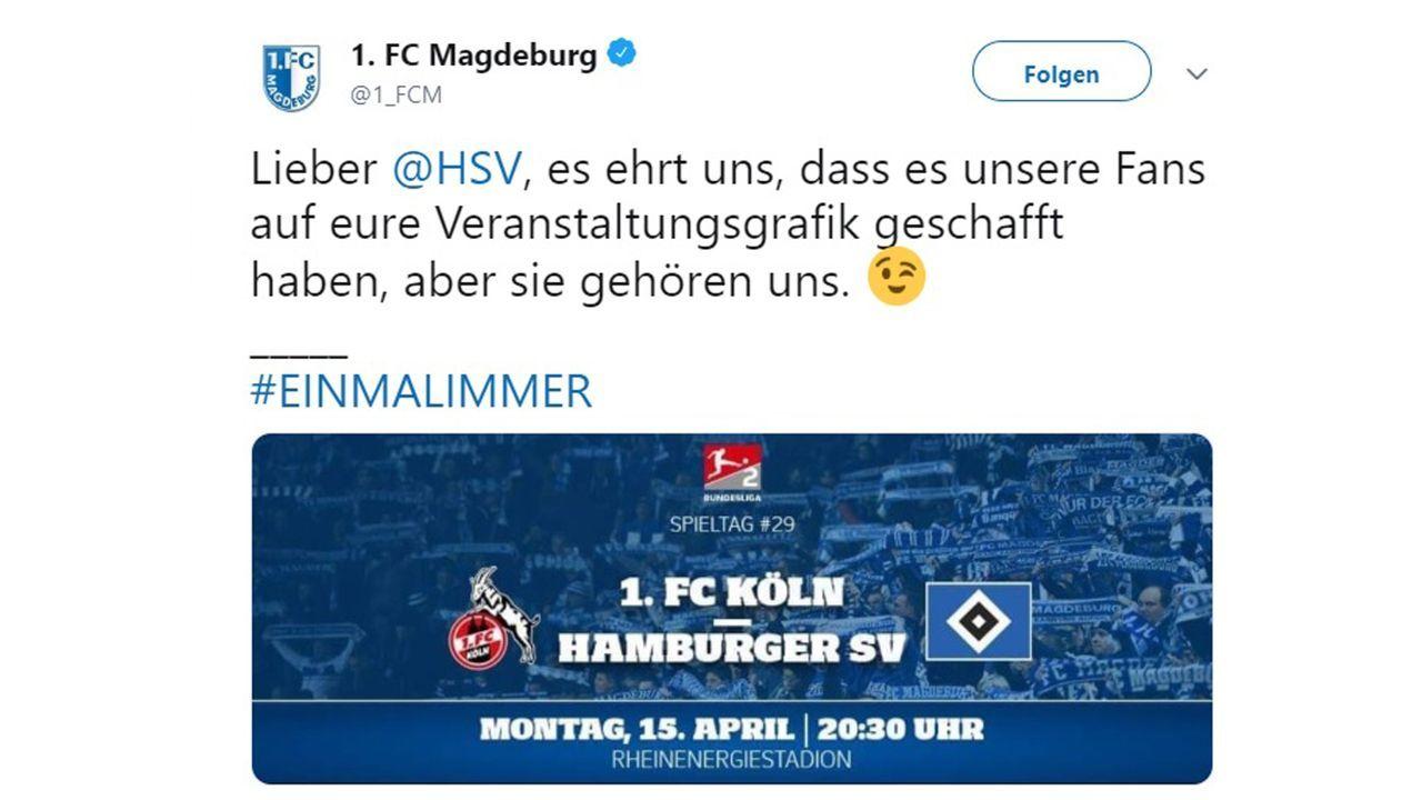Der HSV wirbt mit Fans - aber nicht mit den eigenen - Bildquelle: twitter.com/1_FCM