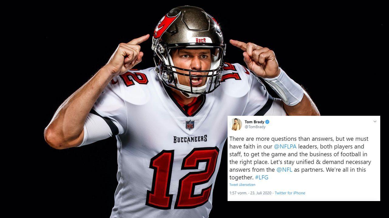 """""""Mehr Fragen als Antworten!"""" - Brady erhöht Druck auf die NFL - Bildquelle: twitter.com/Buccaneers/twitter.com/TomBrady"""
