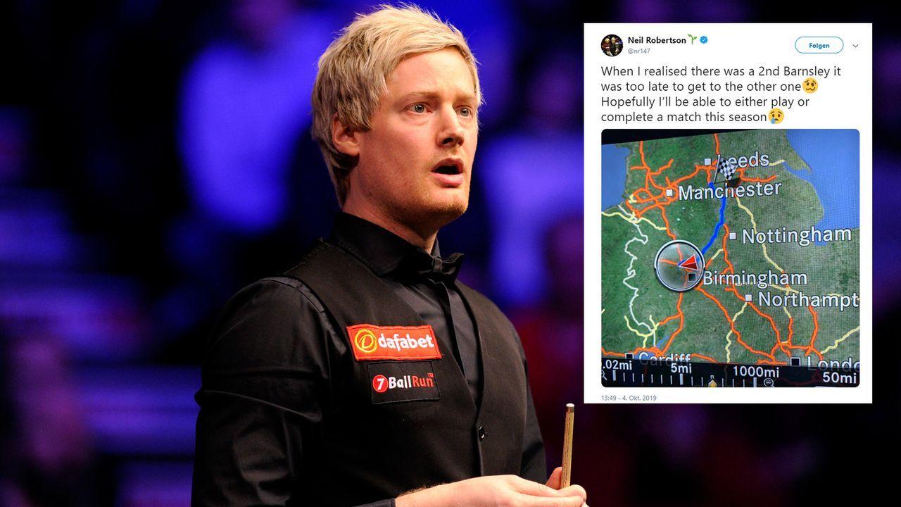 Falsches Barnsley - Snooker-Star Neil Robertson nach Irrfahrt disqualifiziert - Bildquelle: Getty Images/twitter@nr147
