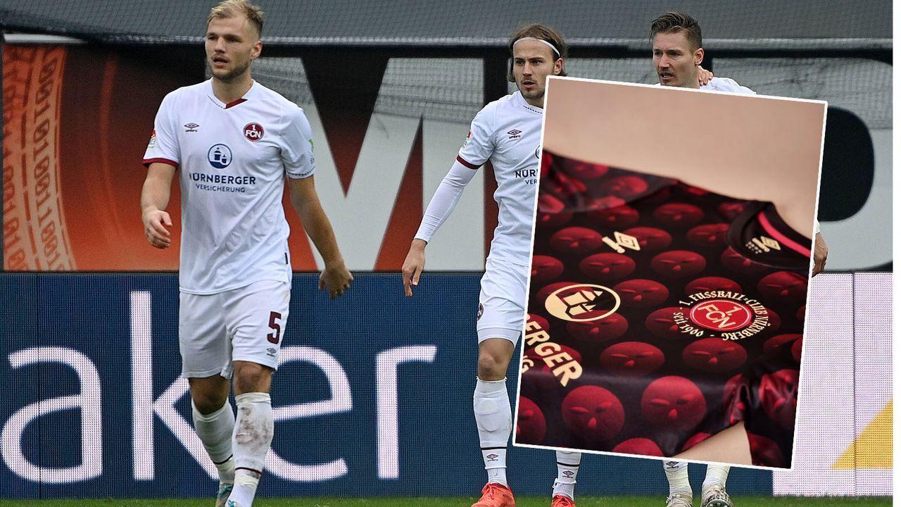 1. FC Nürnberg läuft in Lebkuchen-Trikots auf - Bildquelle: imago images/Ulrich Hufnagel/twitter.com/1fcnuernberg