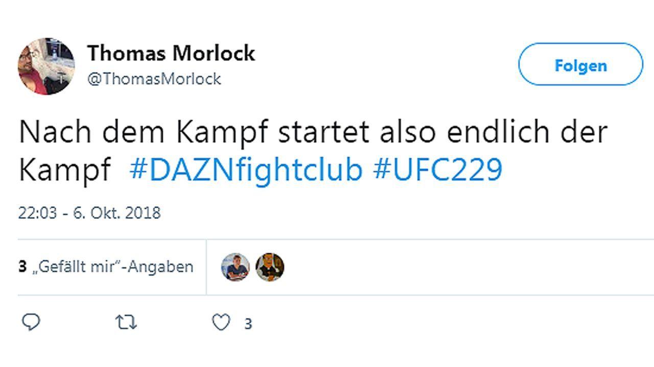 Netzreaktionen zum UFC-Fight Nurmagomedov vs. McGregor - Bildquelle: twitter@ThomasMorlock