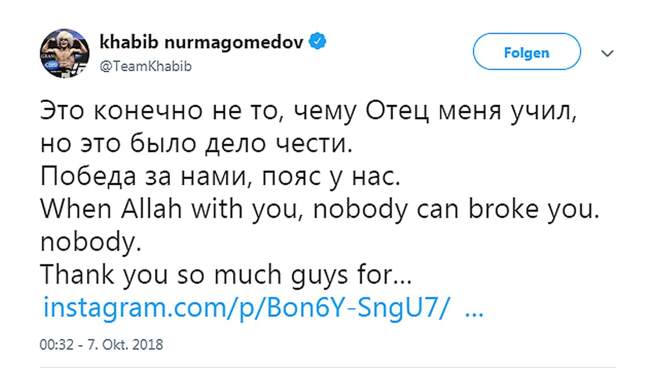 Netzreaktionen zum UFC-Fight Nurmagomedov vs. McGregor - Bildquelle: twitter@teamkhabib