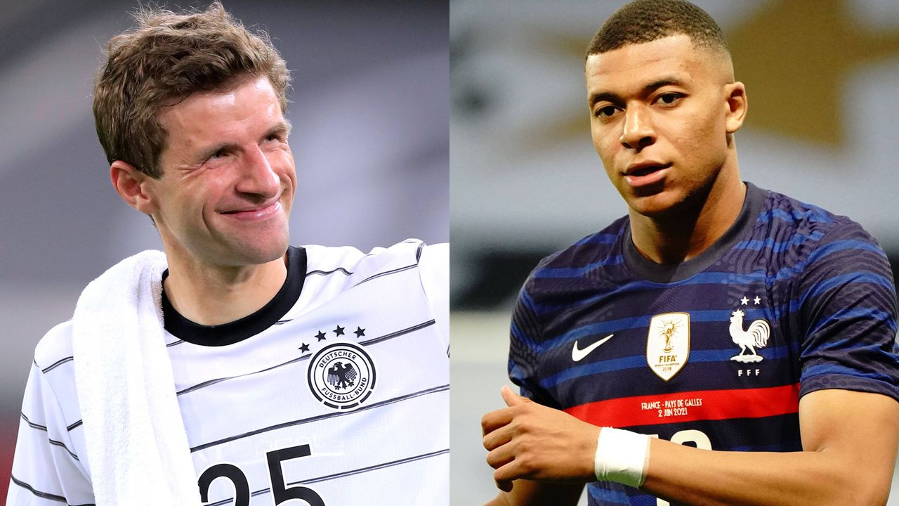 Angriff: Thomas Müller vs. Kylian Mbappe - Bildquelle: Imago