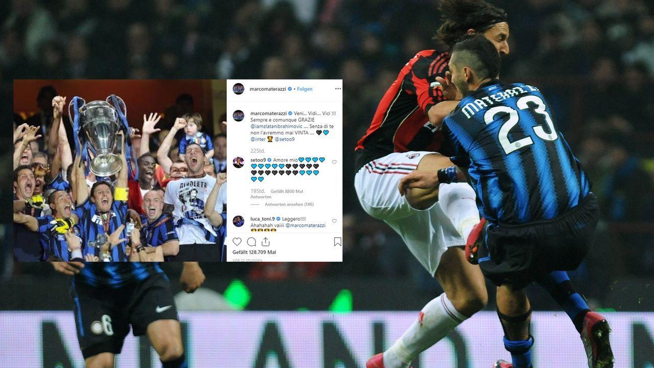 Ibrahimovic erklärt Revanche-Foul an Materazzi - und kassiert Konter - Bildquelle: Getty Images, Instagram/@marcomaterazzi