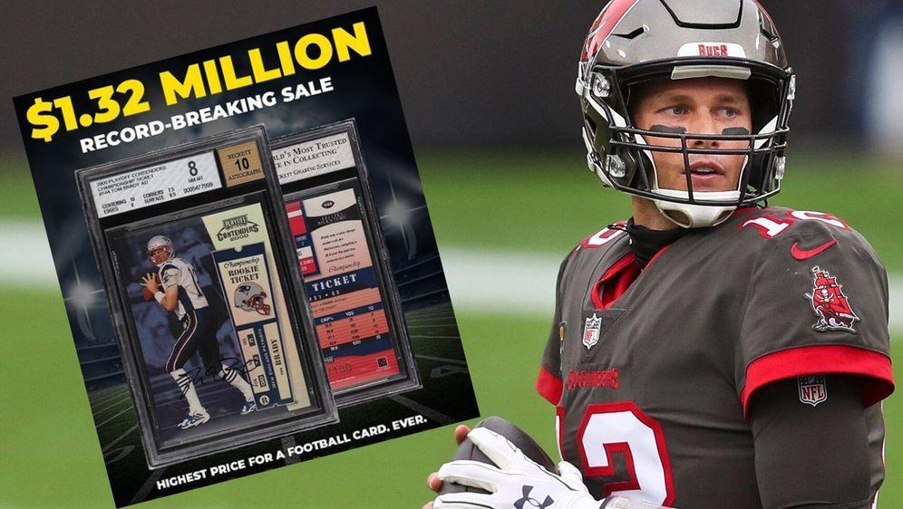 Eine unterschriebene Karte von Tom Brady erzielte bei einer Online-Auktion e... - Bildquelle: imago / Screenshot instagram @pwccmarketplace