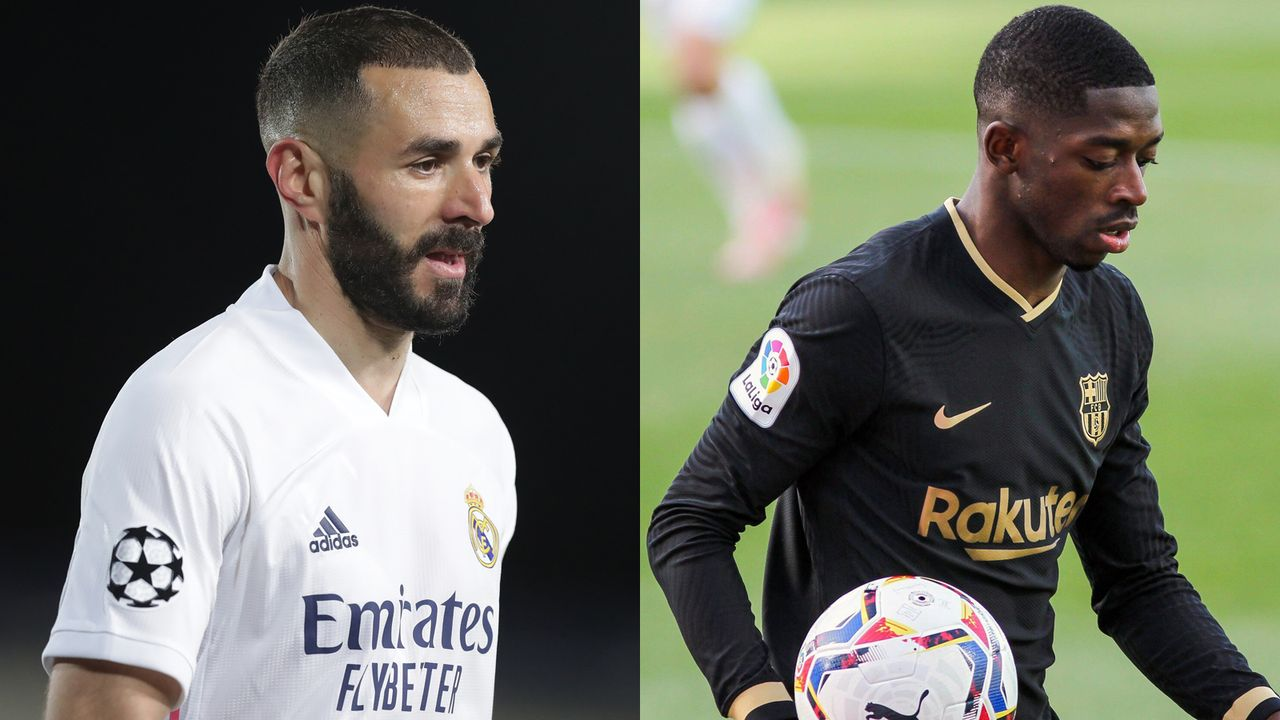 Karim Benzema vs. Ousmane Dembele - Bildquelle: Getty Images/imago