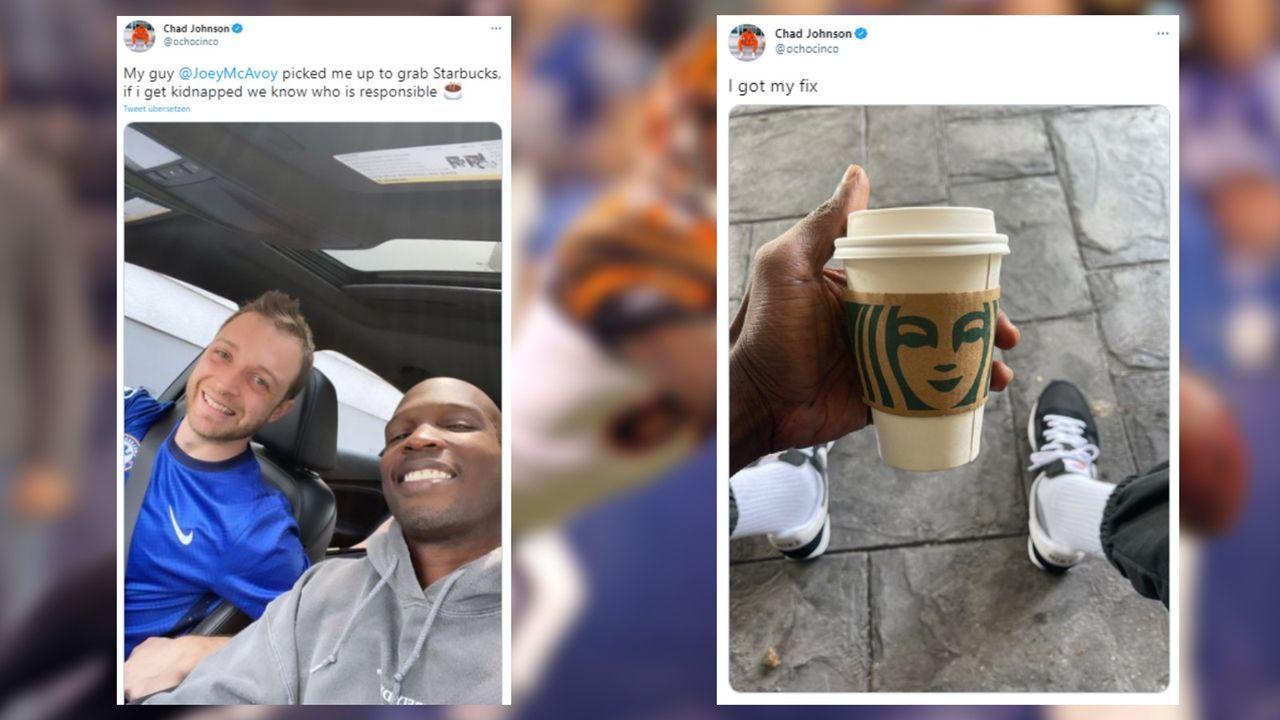 Fan fährt Chad Johnson zu Starbucks - und lehnt 1.000 Dollar ab - Bildquelle: Getty/twitter.com/ochocinco