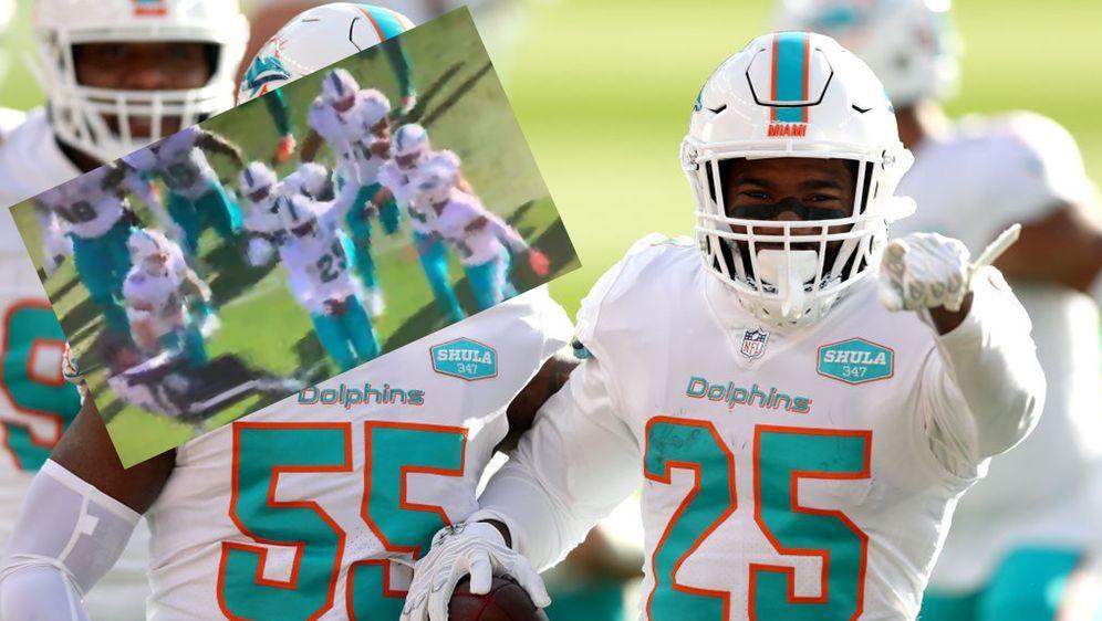 Vor lauter Begeisterug lief ein Spieler der Miami Dolphins den Unparteiische... - Bildquelle: Getty Images / Screenshot twitter @MySportsUpdate