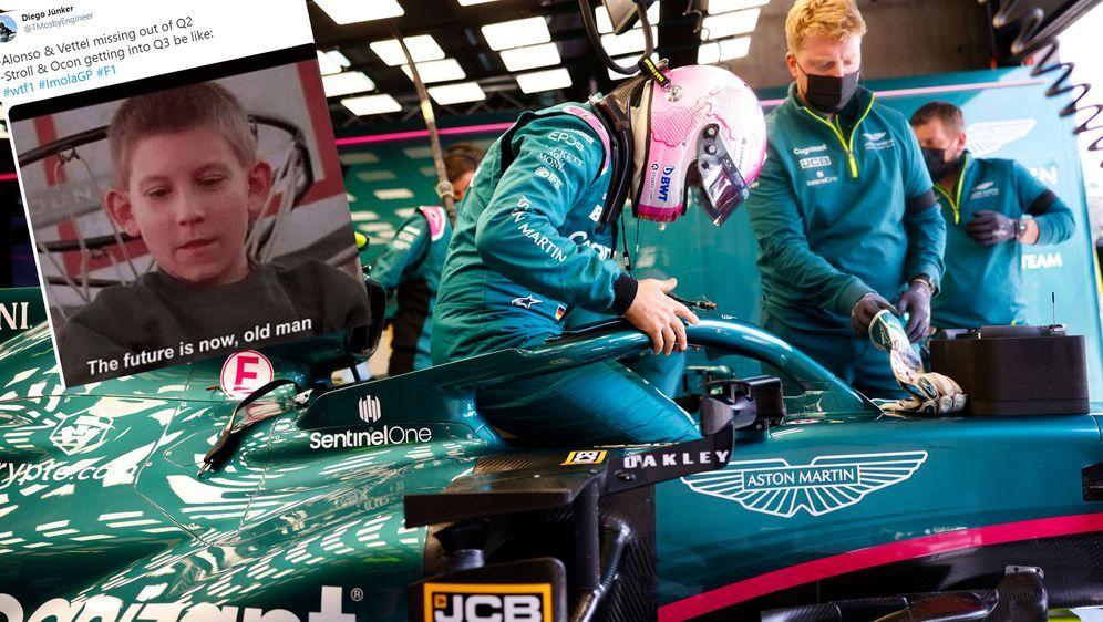 Sebastian Vettel belegte im Qualifying von Imola nur den 13. Platz. - Bildquelle: Imago/Twitter
