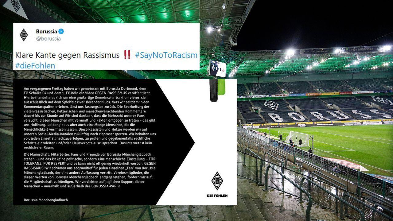 Borussia Mönchengladbach antwortet auf Rassismus - Bildquelle: Imago/Twitter:Borussia