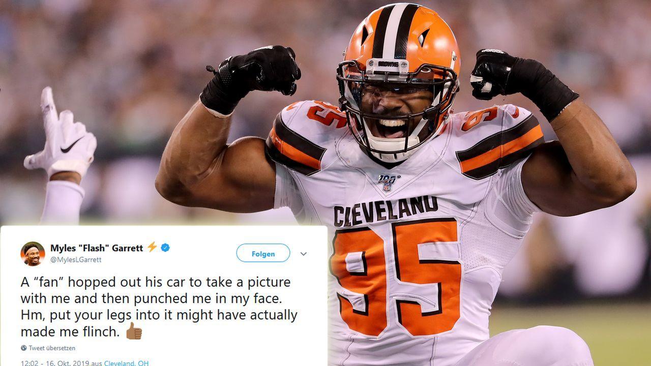 """""""Fan"""" schlägt Browns-Star Myles Garrett - Bildquelle: Getty, Twitter: @MylesLGarrett"""