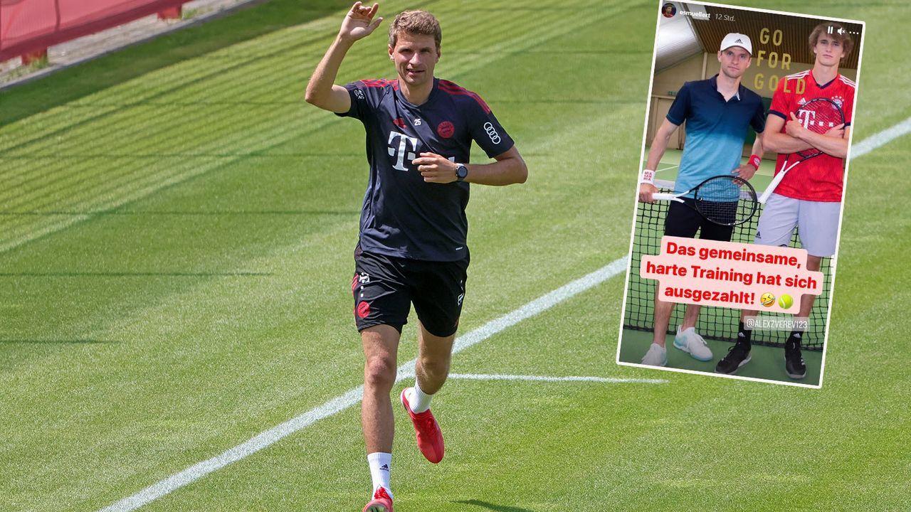 Thomas Müller scherzt über Training mit Alexander Zverev - Bildquelle: imago images/Philippe Ruiz