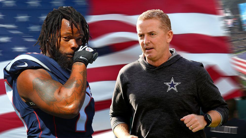 Head Coach Jason Garrett (rechts) von Dallas Cowboys erwartet seinen Neuzuga... - Bildquelle: Imago