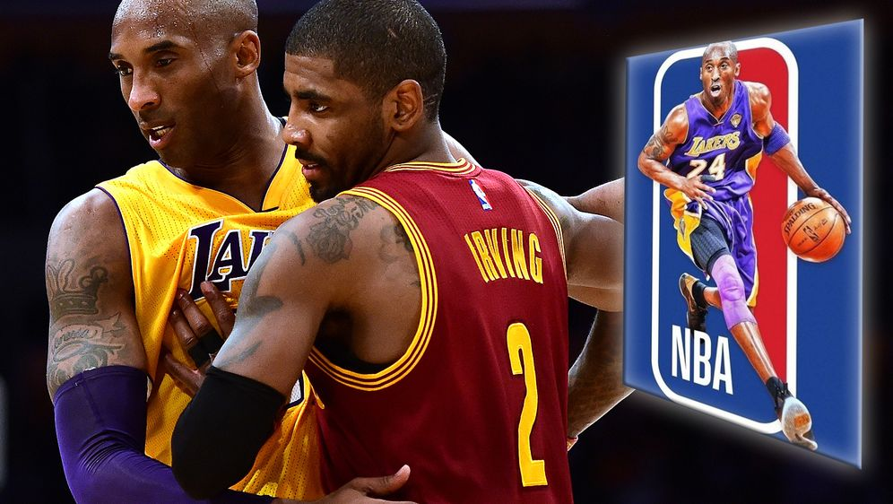 Kyrie Irving (re.) macht sich für Kobe Bryant als Silhouette auf dem NBA-Log... - Bildquelle: getty