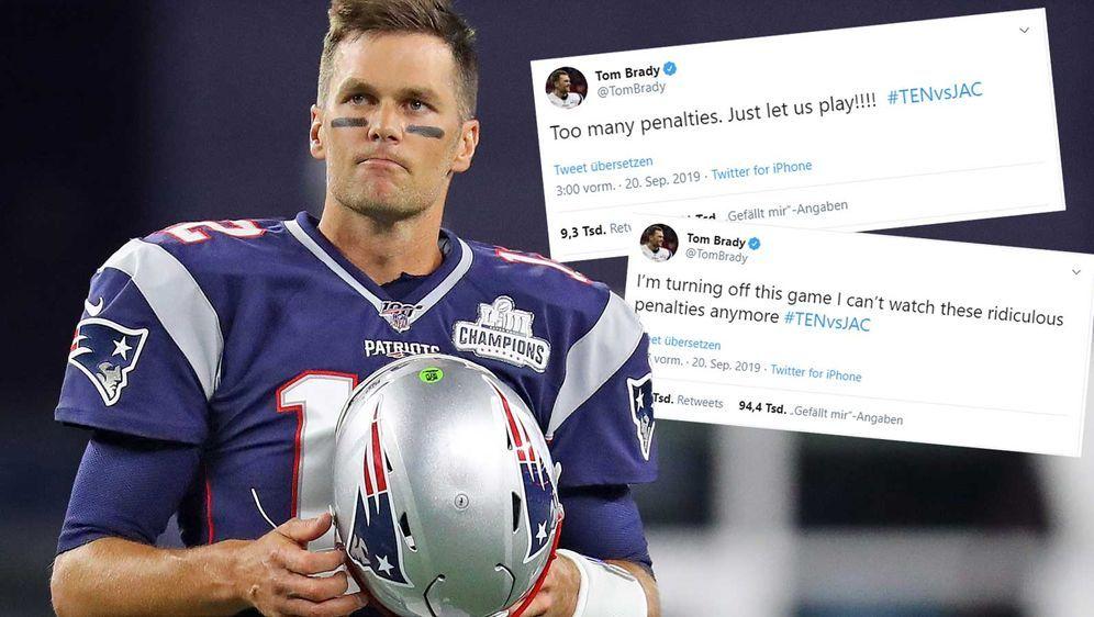 Tom Brady war merklich unzufrieden mit den ganzen Strafen im Spiel der Jagua... - Bildquelle: Getty