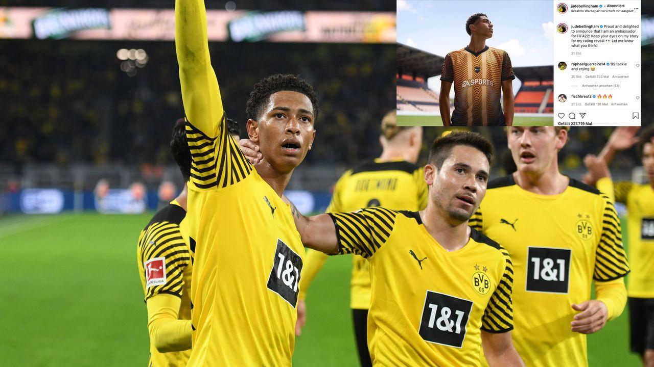 FIFA-Rating: Raphael Guerreiro gibt Jude Bellingham eine 99 für's Weinen - Bildquelle: imago images/Horstm¸ller