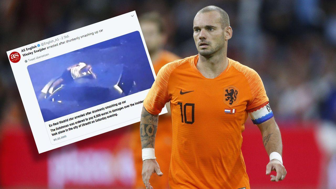 Sneijder nach Saufgelage verhaftet - Bildquelle: 2018 imago & Twitter/English_AS