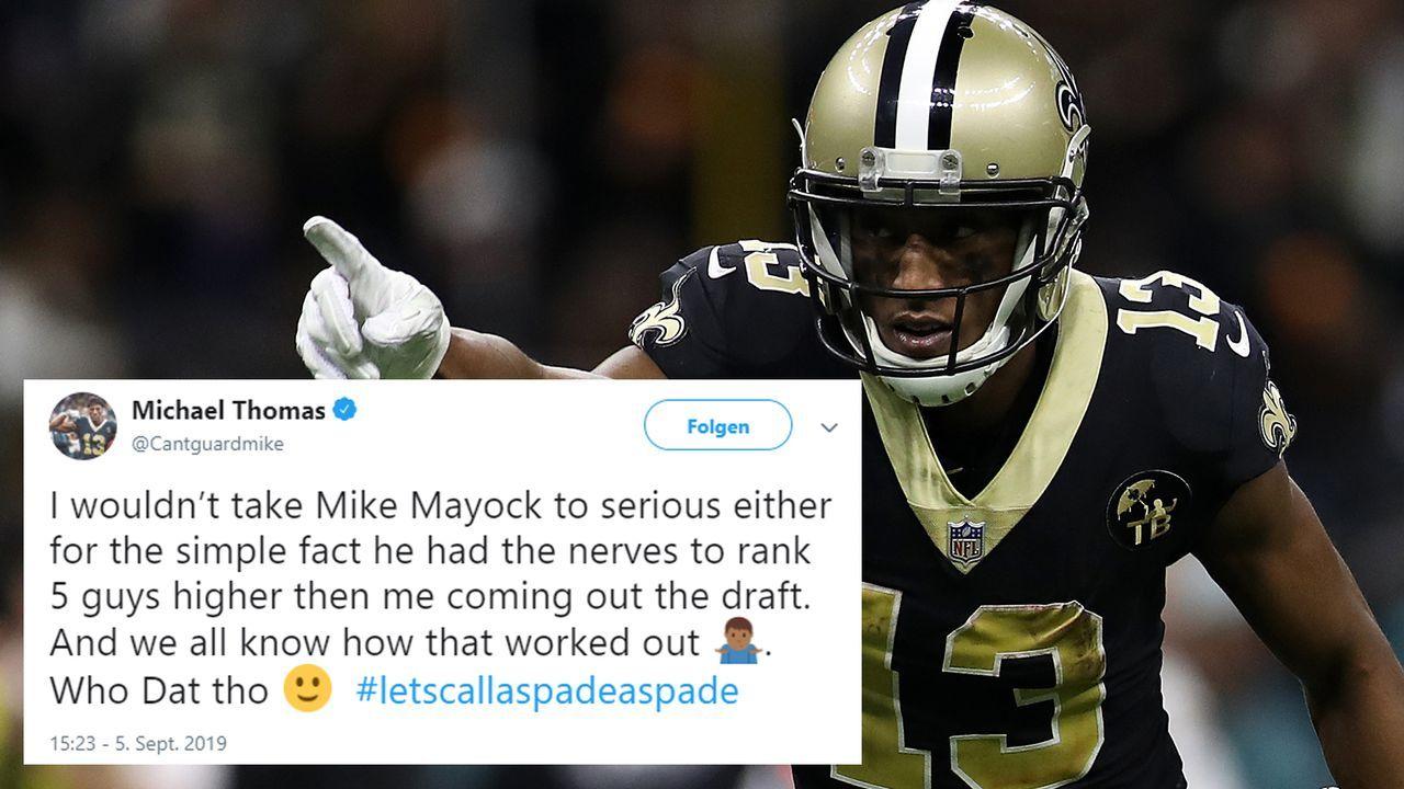 """Michael Thomas: """"Würde Mike Mayock auch nicht so ernst nehmen"""" - Bildquelle: Getty/Twitter: @Cantguardmike"""