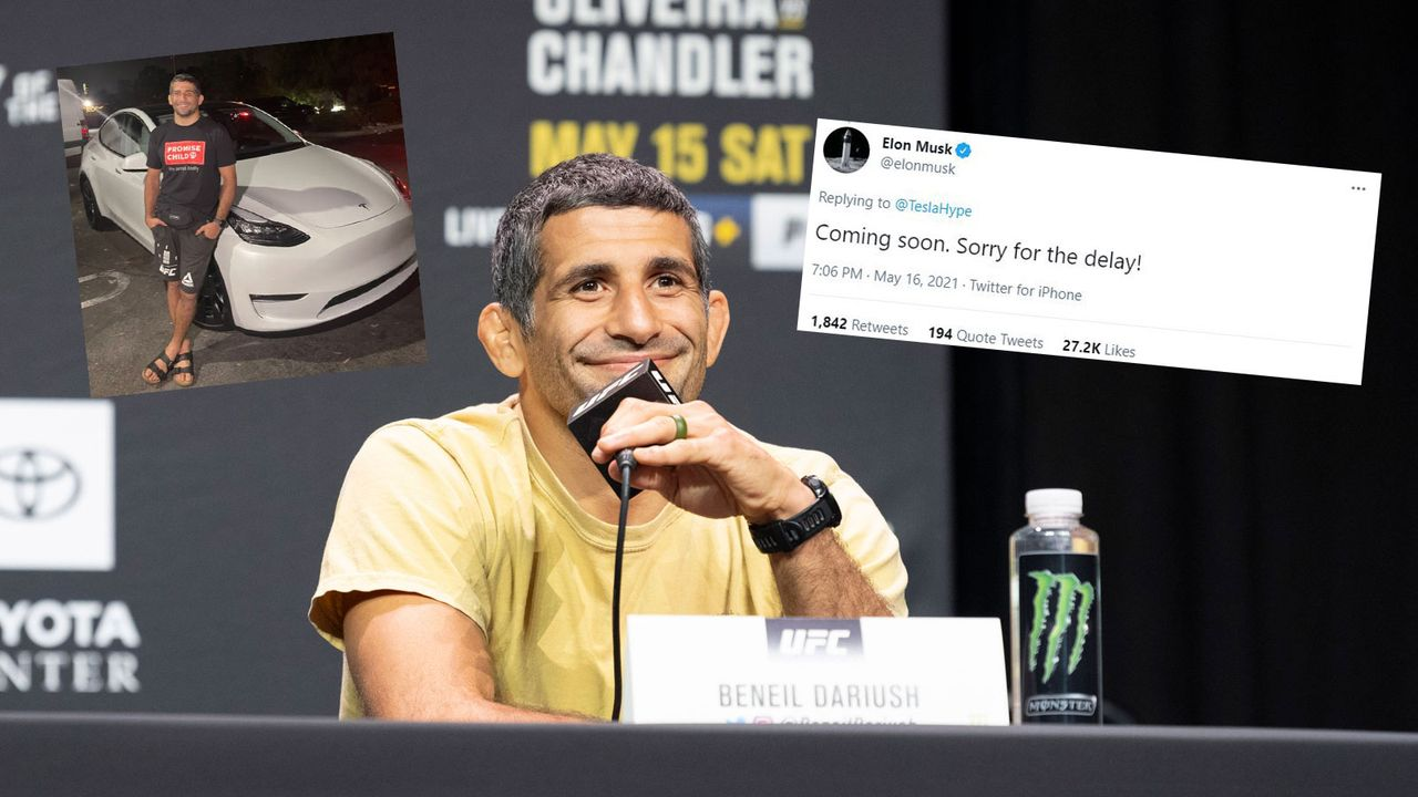 Nach Beschwerde reagiert Musk: UFC-Kämpfer erhält Tesla-Leihwagen - Bildquelle: Imago Images/twitter.com @elonmusk/twitter.com @AliAbdelaziz00
