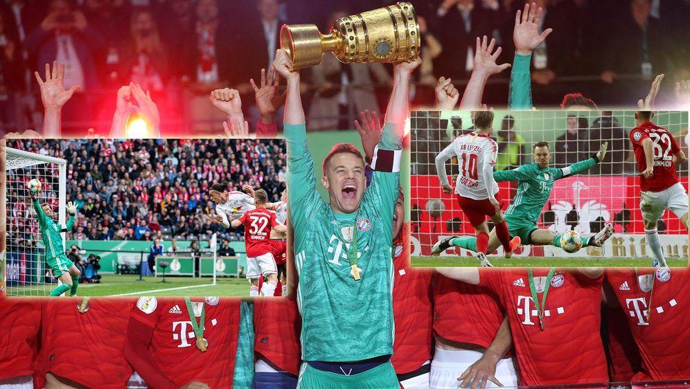 Unüberwindbar: Bayern-Kapitän Manuel Neuer parierte im Pokalfinale gegen Lei... - Bildquelle: imago