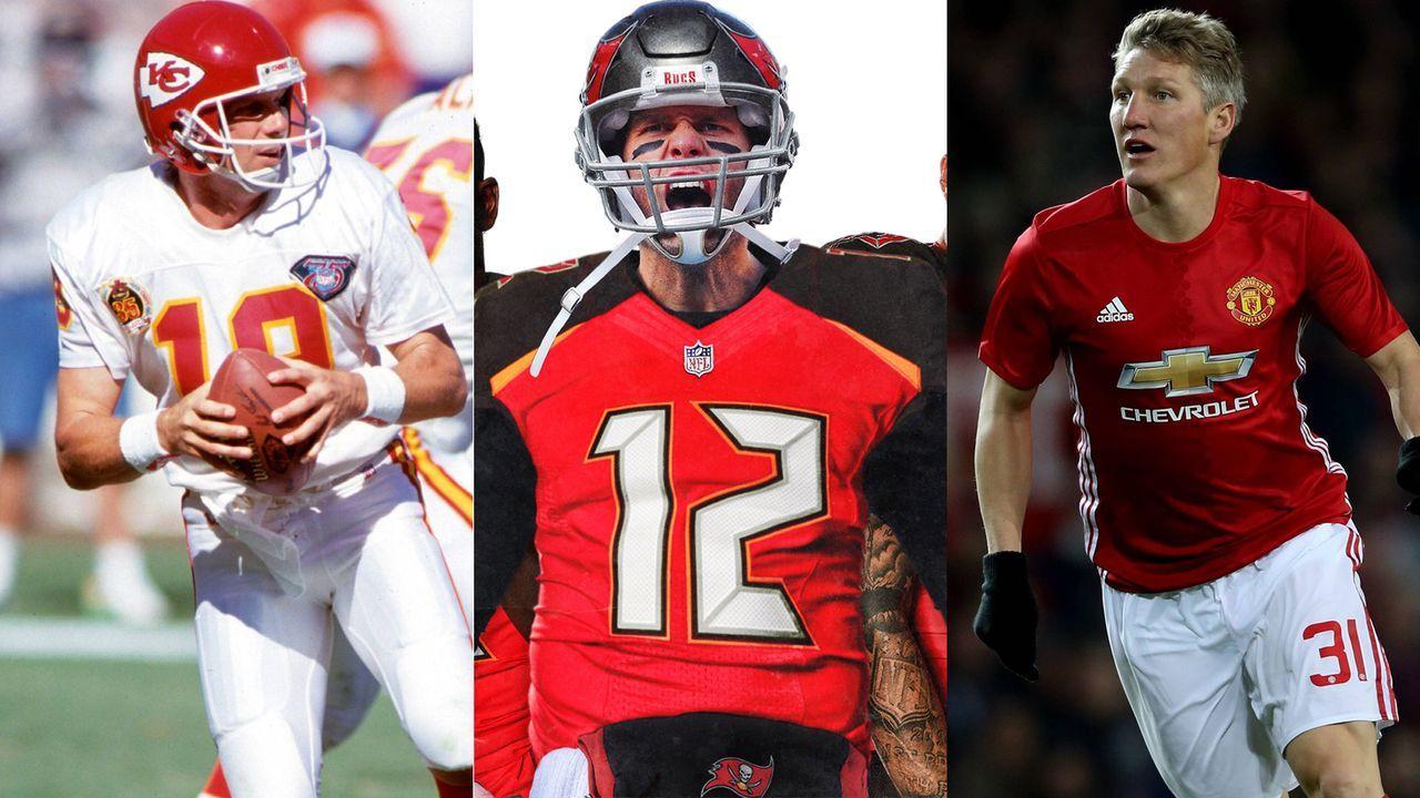 Brady, Schweini und Co.: Seltsam in anderen Trikots - Bildquelle: Imago/NFL Twitter