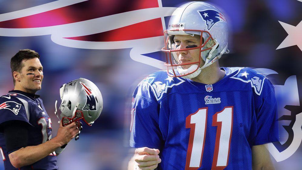 Drew Bledsoe (r.) und sein Quarterback-Nachfolger bei den Patriots, Tom Brad... - Bildquelle: Getty