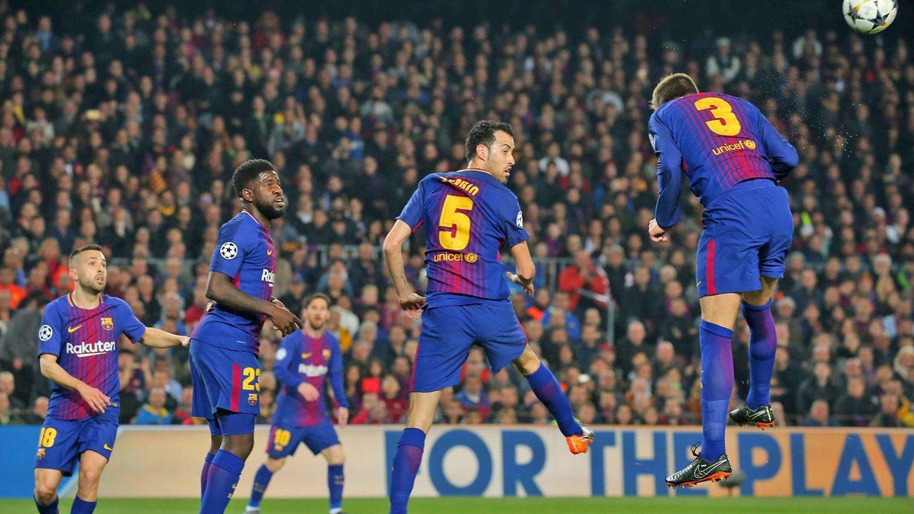 Sergio Busquets, Samuel Umtiti, Gerard Pique (FC Barcelona) - Bildquelle: imago