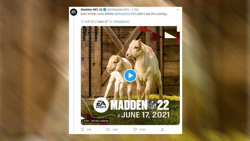 Am 17. Juni soll das Cover für Madden 22 enthüllt werden. - Bildquelle: twitter.com/EAMaddenNFL