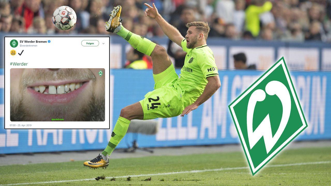 Werder kündigt Neuzugang mit Zahnlücken-Foto an - Bildquelle: imago / twitter.com/werderbremen