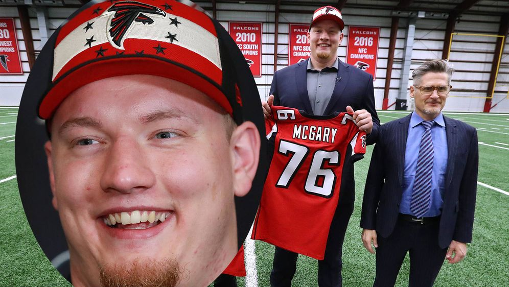 Kaleb McGary hatte nach dem Draft allen Grund zur Freude - gefühlt zum erste... - Bildquelle: imago