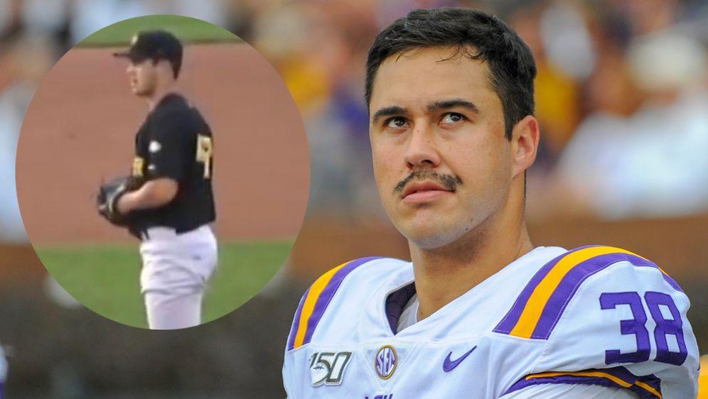 Zach von Rosenberg war früher Baseballprofi und steht nun beim NFL Draft 202... - Bildquelle: imago / Screenshot: youtube @muziccitymuzic