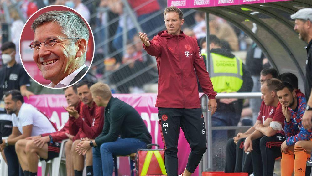 Herbert Hainer (kl. Bild) lobt Bayern-Trainer Julian Nagelsmann - Bildquelle: FIROFIROSID
