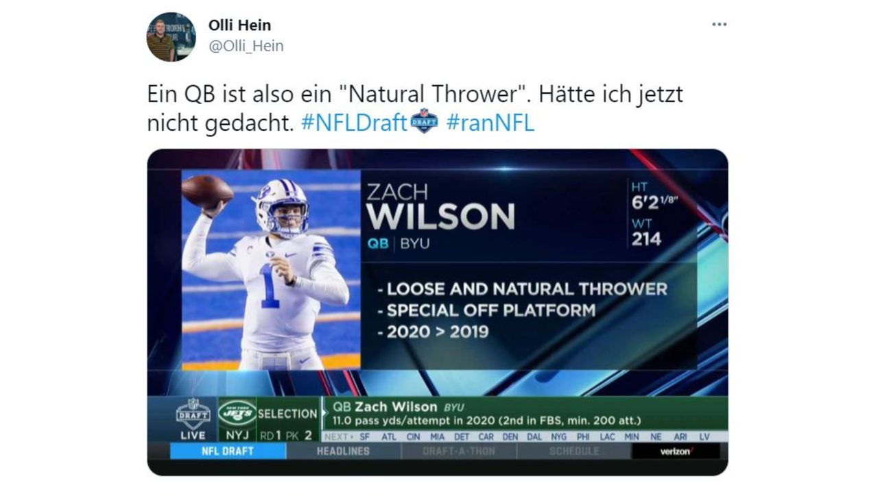 """Der Quarterback - Ein """"Natural Thrower"""" - Bildquelle: www.twitter.com"""