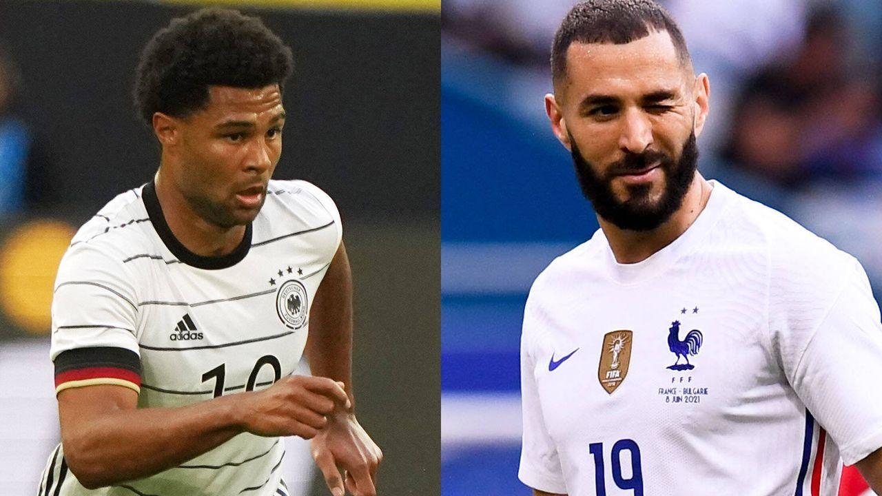 Angriff: Serge Gnabry vs. Karim Benzema - Bildquelle: Imago