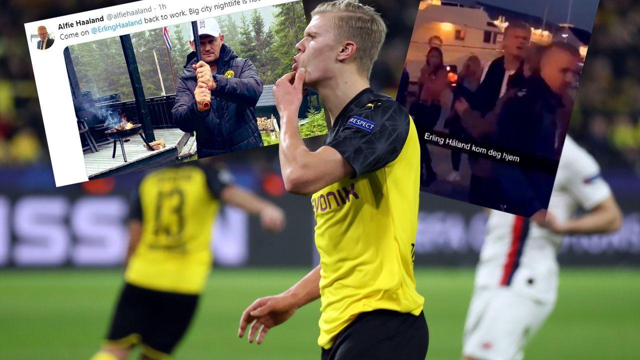 Vater trollt Erling Haaland nach Disco-Rausschmiss - Bildquelle: Getty Images/Twitter@alfiehaaland/Twitter@futbolbible