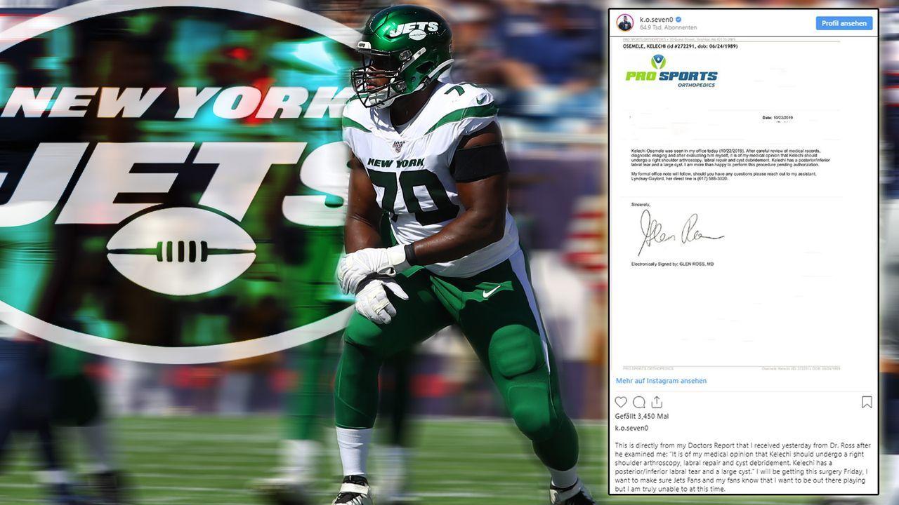 Druck gegen die Jets - Osmele postet ärztlichen Befund auf Instagram - Bildquelle: imago/ Twitter/@k.o.seven0