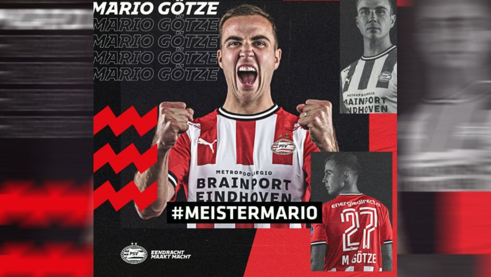 Mario Götze war zuletzt vereinslos, nachdem sein Vertrag bei Borussia Dortmu... - Bildquelle: twitter@psveindhoven