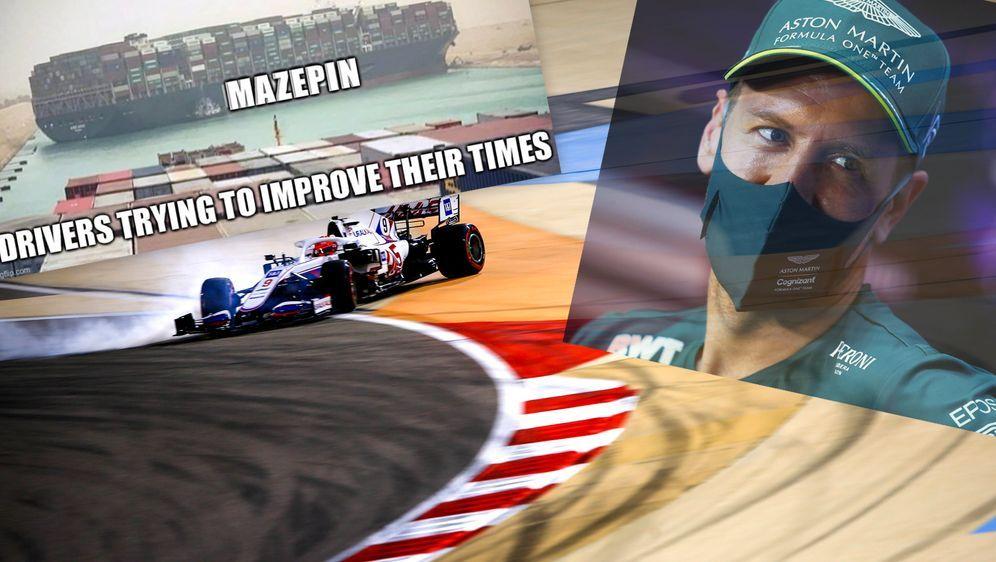 Ein Dreher von Nikita Mazepin sorgte für das frühe Aus von Sebastian Vettel ... - Bildquelle: Imago/Twitter@TrollSports