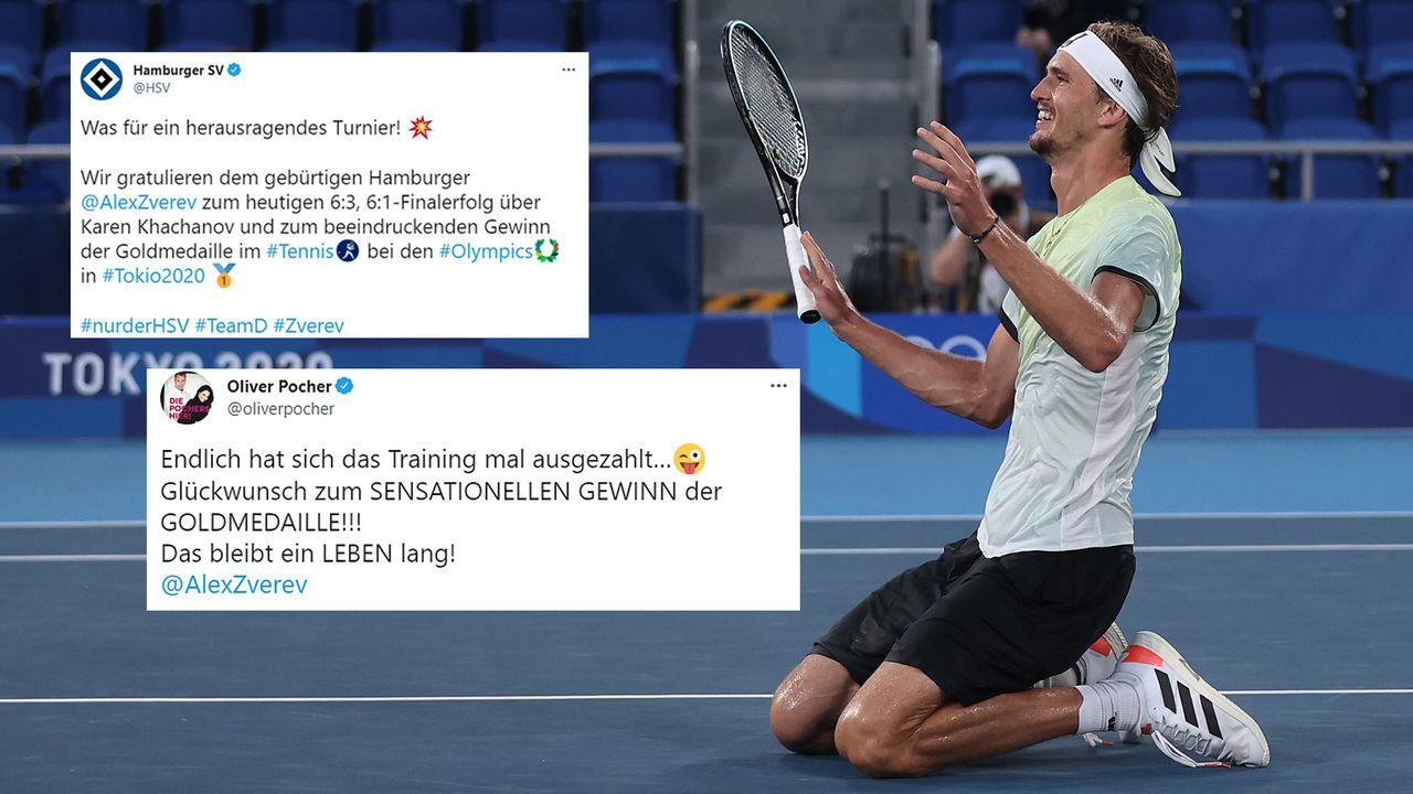 Olympiasieger Alexander Zverev: So reagiert die Sport- und Promi-Welt - Bildquelle: Getty Images/twitter@hsv/twitter@oliverpocher
