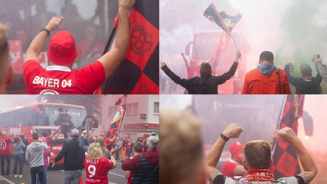 Vor Pokalfinale: Bayer-Fans verabschieden Team mit Bengalos - Bildquelle: Twitter @bayer04fussball